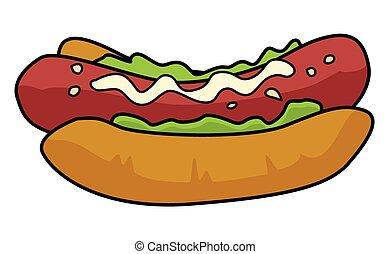 Cartoon Hotdog Sketch