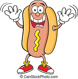Cartoon hotdog waving - Cartoon illustration of a hotdog...