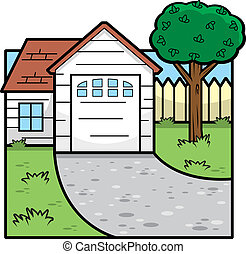 A cartoon illustration of the front of a house.
