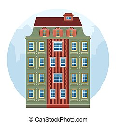 Cartoon house colorful architecture Amsterdam. European style. Green and brown historic facade. Vector illustration. Buildings of the old city on a white isolated background.
