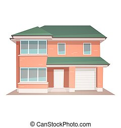 Cartoon House - Front view of family house, cartoon vector...
