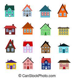 Cartoon house icon - House set - colourful home icon...