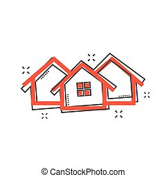 Cartoon house icon in comic style. Home illustration pictogram. House splash business concept.