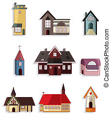 cartoon house icon set