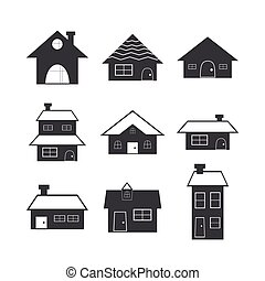 Cartoon house icon set.