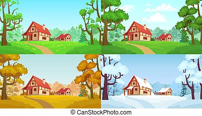 Cartoon house in woods. Forest village four seasons landscapes. Spring, summer, autumn and winter trees vector illustration