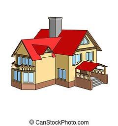 Cartoon house with a gable roof