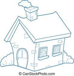 house - cartoon house with smoking chimney and bushes