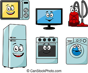 Cartoon household appliances set with microwave, TV, vacuum...