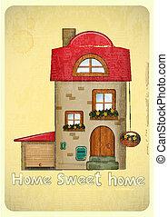 Cartoon Houses Postcard. House with Garage on Vintage...