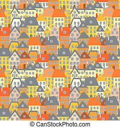 Cartoon houses seamless background. Village illustration
