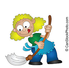 housewife - Cartoon housewife sweeping the floor with a...
