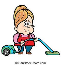 Cartoon Housewife with a Vacuum Cleaner - Cartoon housewife...