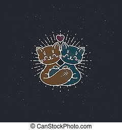 Cartoon hugging cats. Greetings and surprise vector illustration for prints