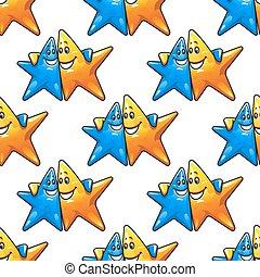 Cartoon hugging stars characters seamless pattern