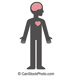 Cartoon human body silhouette with brain and heart