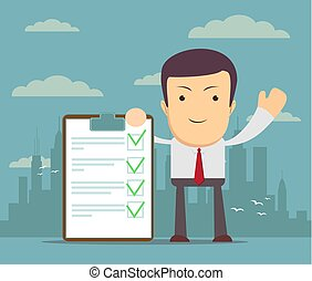 Cartoon human character holding a clipboard with green tick...
