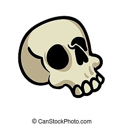 Cartoon human skull. Flat vector illustration isolated on white background.