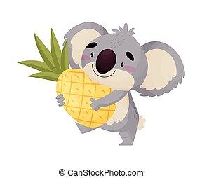 Cartoon humanized koala with pineapple. Vector illustration on white background.