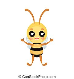 Cartoon humanized bee stands full face and smiles. Vector illustration on white background.