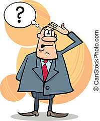 confused boss - cartoon humorous illustration of funny ...