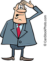 confused businessman - cartoon humorous illustration of...