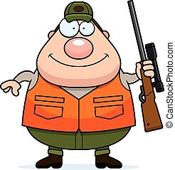 Cartoon Hunter Rifle - A cartoon illustration of a hunter...