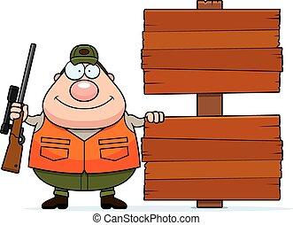 Cartoon Hunter Sign - A cartoon illustration of a hunter ...