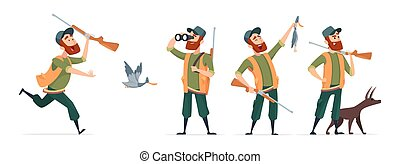 Cartoon hunters. Vector hunter with dog, guns, binoculars, duck isolated on white background