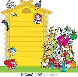 cartoon, hus, by, dyr