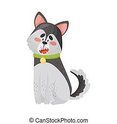 Cartoon Husky. Vector illustration on a white background.