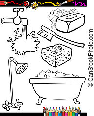 cartoon hygiene objects coloring page - Coloring Book or ...