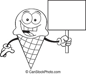 Black and white illustration of an ice cream cone holding a sign.