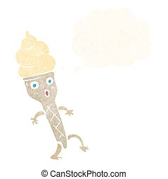 cartoon ice cream with thought bubble