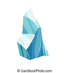 Cartoon ice crystals. Cold frozen blocks or ice mountain, winter decoration for game design. Iceberg broken pieces of ice. Snowy elements on white background