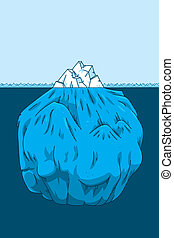 Cartoon iceberg cross-section showing the portion below the waterline.