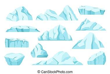 Cartoon icebergs, arctic ice rocks, antarctic glaciers. North pole frozen icy mountain, ice floe, floating iceberg, frozen blocks vector set