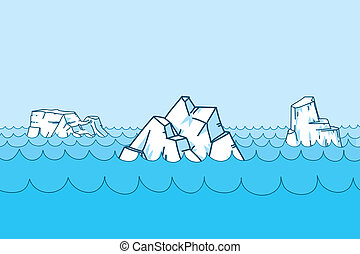 Cartoon Icebergs - Cartoon icebergs, floating on the ocean.
