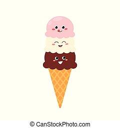 Cartoon icecream with funny faces