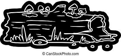 cartoon icon drawing of a tree log