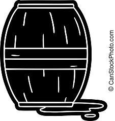 cartoon icon drawing of a wine barrel