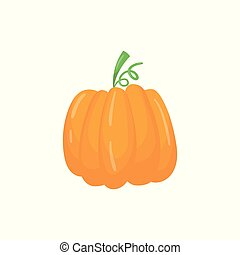 Cartoon icon of big bright orange pumpkin. Ripe herbaceous plant. Organic food. Agronomic product. Graphic design element for infographic of farming cultivation. Colorful flat vector illustration.