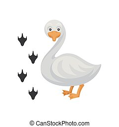 Cartoon icon of funny duck and his footprints. Water bird with orange beak and legs. Domestic animal. Flat vector design