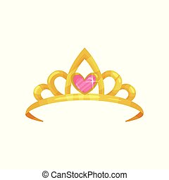 Cartoon icon of shiny princess crown with precious pink stone in shape of heart. Golden ancient queen tiara. Symbol of royal dignity. Colorful flat vector illustration isolated on white background.