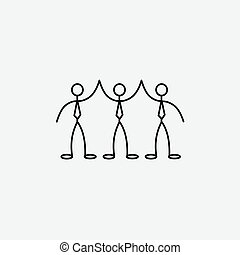 Cartoon icon of sketch little people.