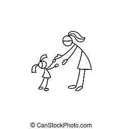 Cartoon icon of sketch little people in cute miniature...