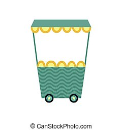 Cartoon icon or symbol of toy train wagon flat vector illustration isolated.