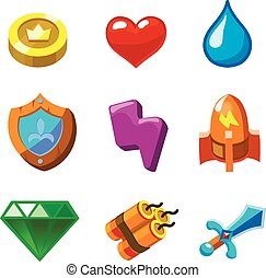 Cartoon icons for game user interface, vector set