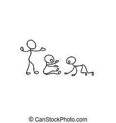 Cartoon icons of sketch little people in cute miniature scenes.