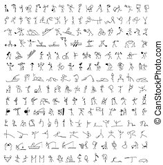 Cartoon icons set of 200 sketch little people stick figure